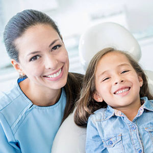 Patient alongside one of the kids' dentists in San Jose, CA.